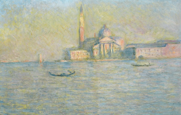 Картинка пейзаж, лодка, картина, церковь, Венеция, канал, гондола, Клод Моне