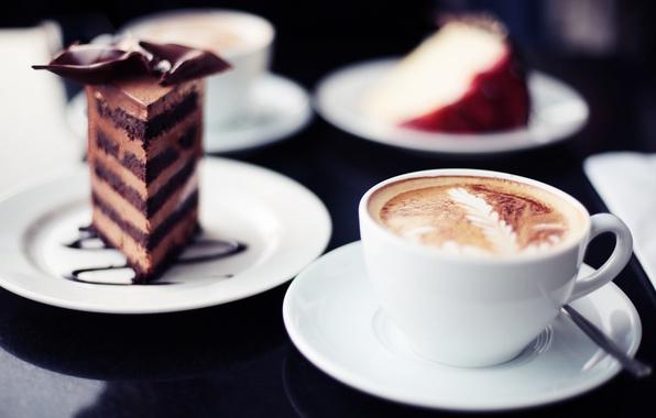 Картинка фон, widescreen, обои, кофе, еда, шоколад, кружка, сладости, wallpaper, пирожное, капучино, широкоформатные, background, тортик, какао, …