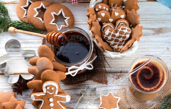 Картинка зима, еда, шоколад, человечки, печенье, напиток, звездочки, фигурки, десерт, выпечка, праздники, джем, варенье, новогоднее