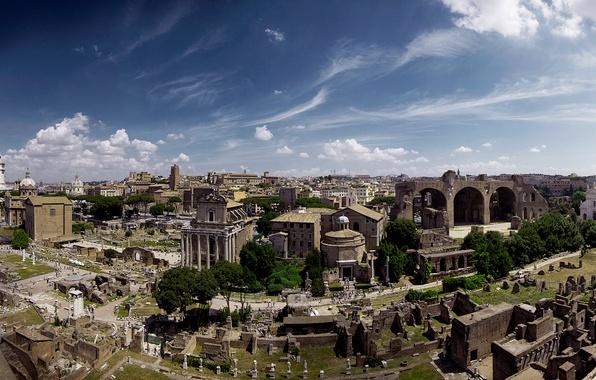 Фото обои Форум, пейзаж, Италия, Рим, панорама, развалины, руины