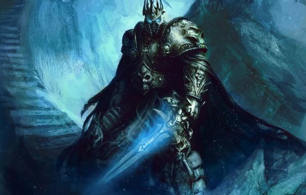 Картинка меч, ступени, шлем, броня, wow, world of warcraft, arthas, lich king, fanart