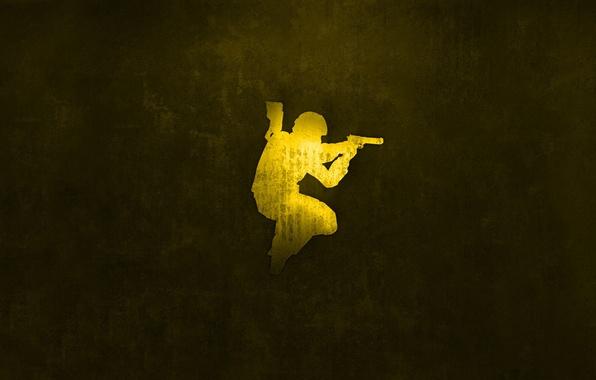 Фото обои спецназ, золото, Desert Eagle, Counter Strike, source