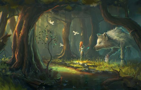 Картинка лес, девушка, деревья, птицы, фантазия, волк, арт