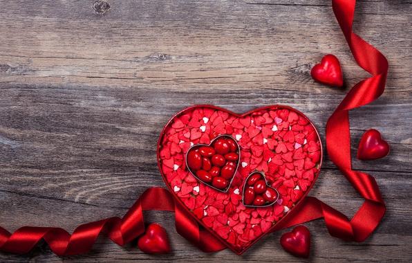 Картинка романтика, сердце, лента, сердечки, love, heart, wood, romantic, Valentine's Day, ribbon