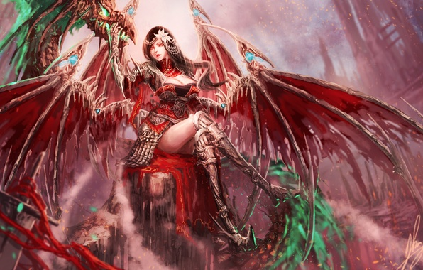 Картинка взгляд, поза, фантастика, крылья, арт, сидит, демоница