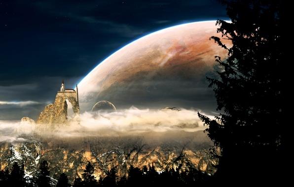 Картинка облака, деревья, горы, птицы, замок, луна, планеты, спутник, церковь