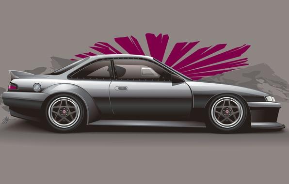 Картинка арт, Silvia, Nissan, серебристая, ниссан, сильвия, silvery, S14, stance, JDM, profile