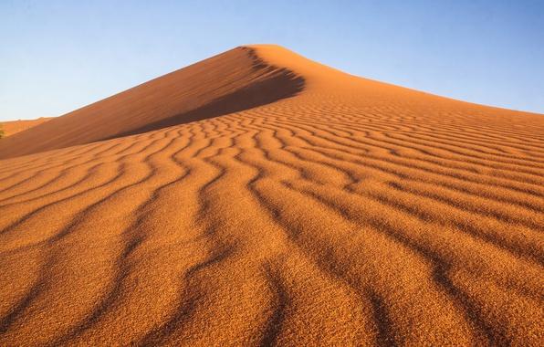 Картинка песок, небо, линии, природа, абстракции, узор, пустыня, текстура, бархан, дюна