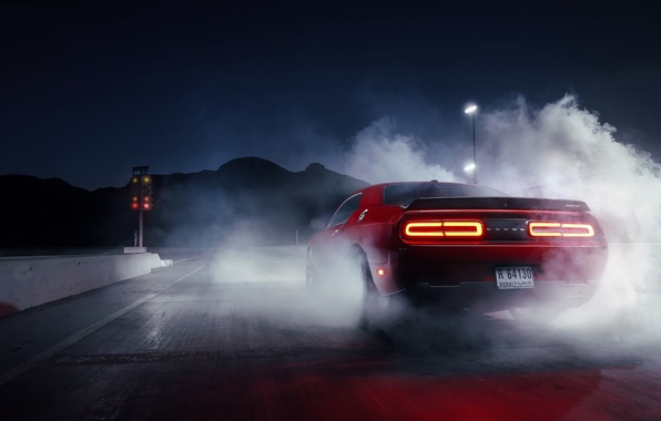 Картинка Muscle, Dodge, Challenger, Red, Car, Smoke, Hellcat, Drag, Rear