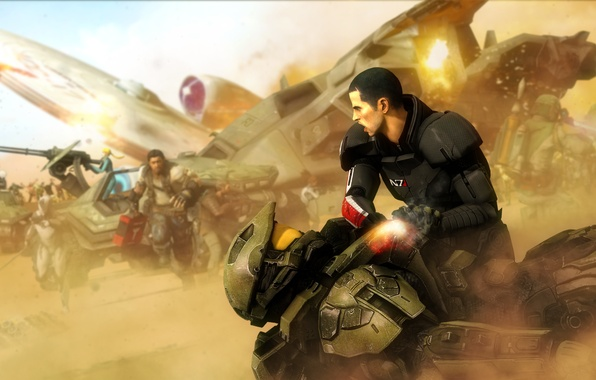 Картинка mass effect, shepard, halo, crossover, jim raynor, samus aran, metroid, master chief, John-117