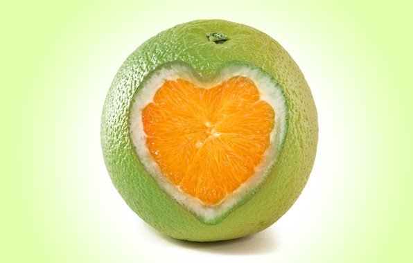 Фото обои fruit, рендеринг, апельсин, orange, сердце, heart