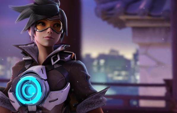Картинка girl, game, Overwatch, tracer