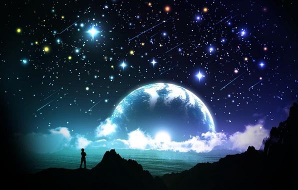 Картинка море, небо, звезды, облака, ночь, человек, планета, силуэт, арт, y-k