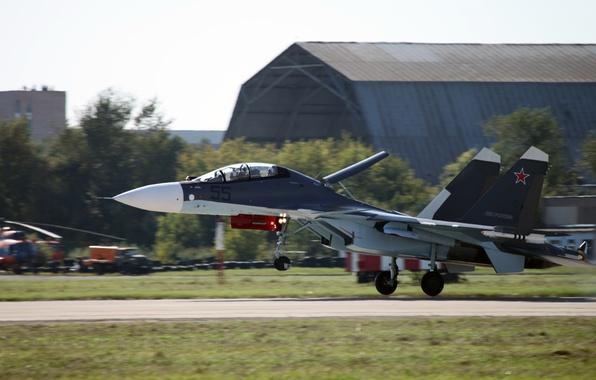 Картинка посадка, аэродром, ОКБ Сухого, Flanker-C, ВВС России, Су-30СМ, российский двухместный многоцелевой истребитель поколения 4+, серийный …