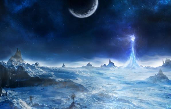 Картинка холод, свет, снег, деревья, скалы, планета, гора, луч, арт, пик