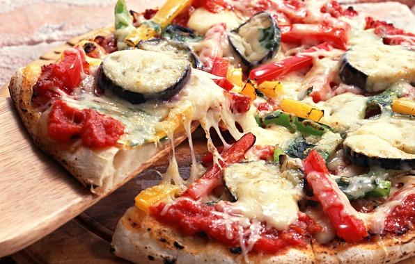 Картинка зелень, сыр, лук, баклажан, пицца, помидор, болгарский перец, cheese, greens, tomato, onion, bell pepper, итальянская …