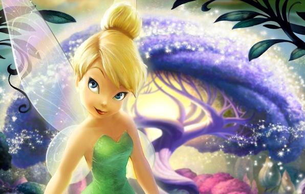 Картинка лес, дерево, волшебство, мультфильм, крылья, звёзды, Феи, фея, искры, блондинка, magic, tree, movie, Колокольчик, Walt …