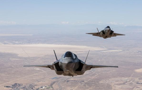 Картинка полет, пустыня, USA, США, Невада, USAF, F-35, F-35B, Lockheed Martin, Ф-35Б, Ф-35, F35