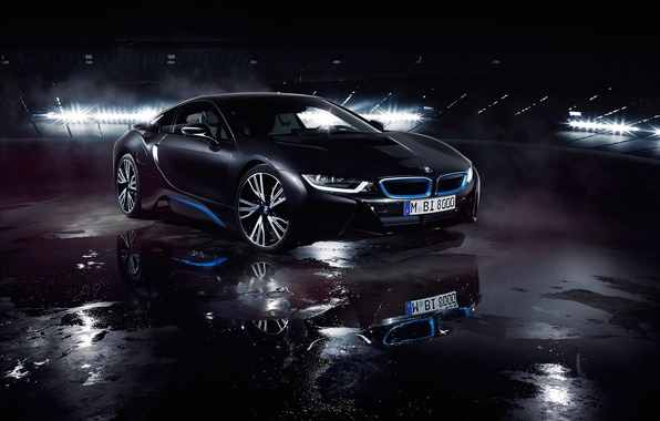 Картинка BMW, German, Car, Front, Black, Water, Matte, Ligth