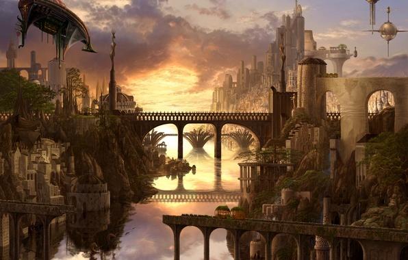 Картинка мост, город, река, водопад, арт, ucchiey, kazamasa uchio, дИрИжабли