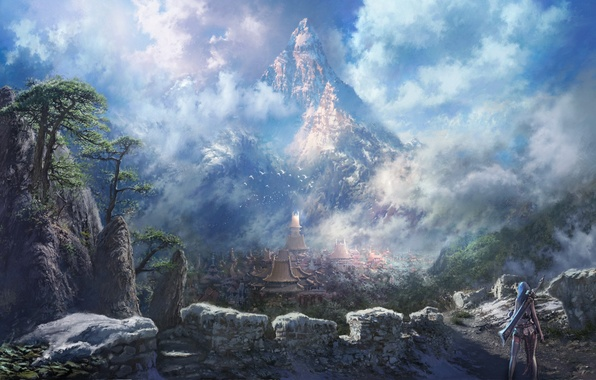 Картинка небо, девушка, облака, птицы, город, здания, меч