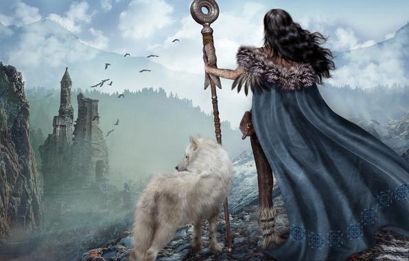 Картинка девушка, природа, рендеринг, волк, развалины