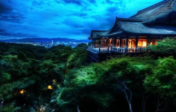 Картинка облака, деревья, дом, Japan, Kyoto