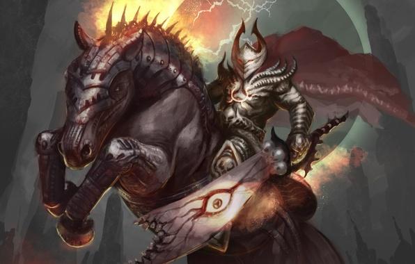 Картинка конь, молнии, меч, воин, арт, броня, доспех