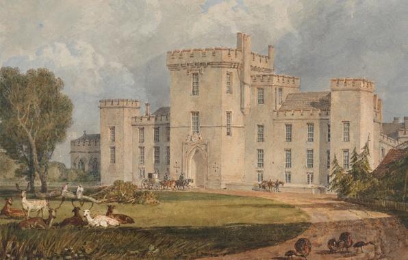 Картинка дорога, животные, деревья, пейзаж, замок, картина, акварель, Уильям Тёрнер, View of Hampton Court, from the …
