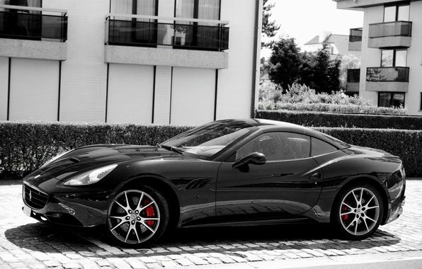Картинка чёрный, Ferrari, California, Side