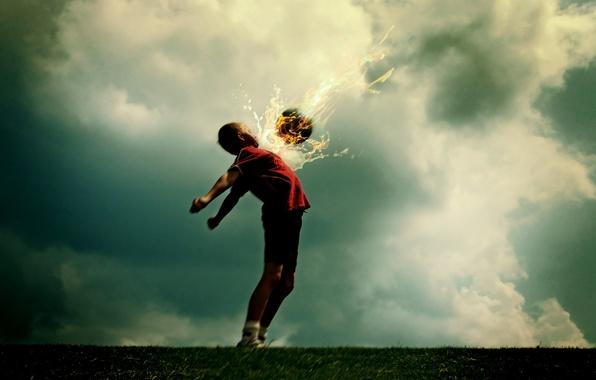 Картинка фантастика, огонь, футбол, мяч