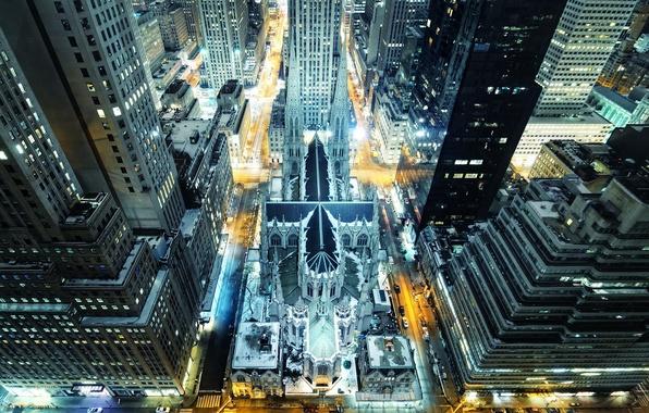 Картинка ночь, огни, нью-йорк, Night, New York City, manhattan, nyc, madison avenue, St. Patrick\'s Cathedral, rockefeller …