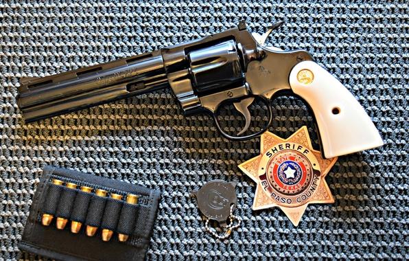 Картинка оружие, значок, револьвер, Colt, Python