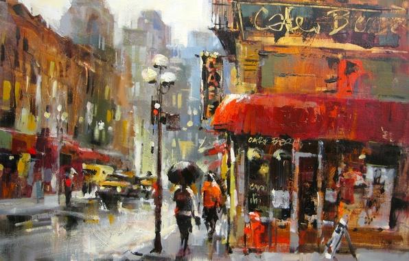 Картинка дорога, город, дождь, улица, дома, фонари, хмуро, Brent Heighton