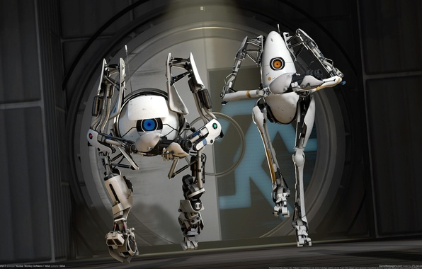 Картинка Роботы, CG Wallpapers, Robots, Valve, Portal 2