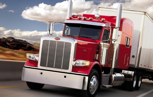 Картинка дорога, небо, грузовик, передок, truck, тягач, peterbilt, трак, петерблит, 388