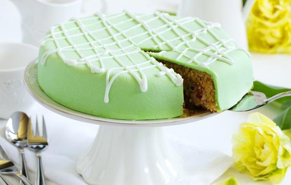 Картинка цветы, зеленый, торт, cake, десерт, выпечка, глазурь, dessert, baked