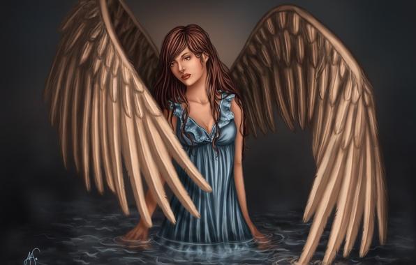 Картинка взгляд, вода, девушка, лицо, отражение, фантастика, крылья, ангел, арт, голубое платье
