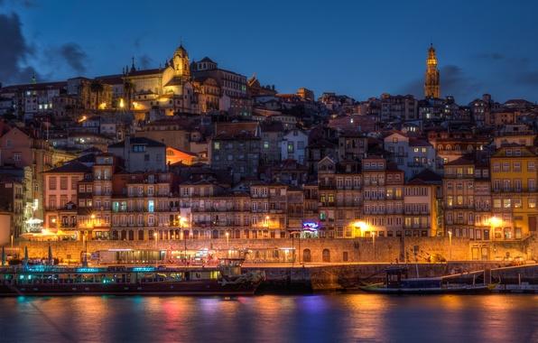 Картинка город, река, берег, побережье, здания, дома, лодки, вечер, Португалия, Portugal, Порто, Вила-Нова-де-Гайя, Vila Nova de …