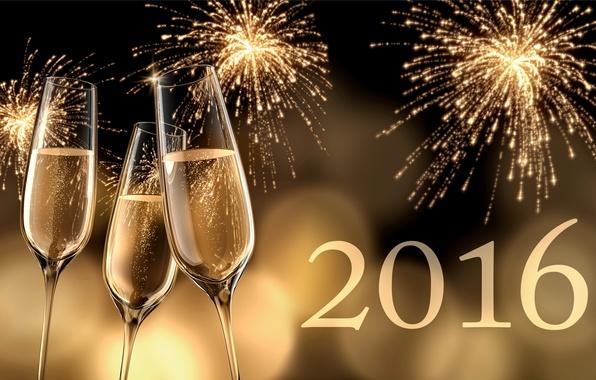 Картинка салют, Новый Год, бокалы, golden, шампанское, New Year, Happy, champagne, 2016