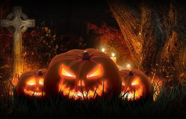 Картинка ночь, рендеринг, праздник, крест, тыква, хэллоуин