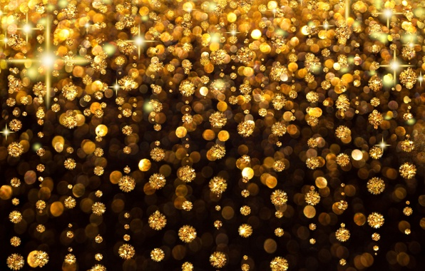Картинка свет, украшения, камни, фон, золото, дождь, праздник, блеск, свечение, мерцание