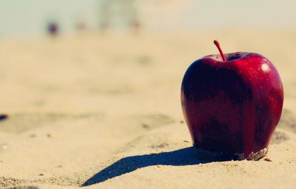 Картинка песок, пляж, фон, красное, widescreen, обои, apple, яблоко, еда, фрукт, wallpaper, широкоформатные, background, полноэкранные, HD …