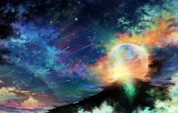 Картинка небо, звезды, облака, ночь, планета, гора, радуга, арт, tsujiki