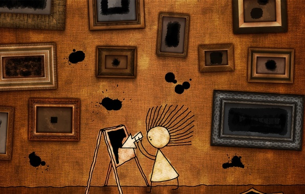Картинка волосы, рисунок, стрелка, пятна, девочка, картины