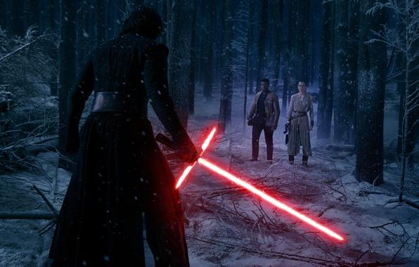 Картинка лес, снег, деревья, ночь, фантастика, меч, Finn, Star Wars: The Force Awakens, Kylo Ren, Звёздные …