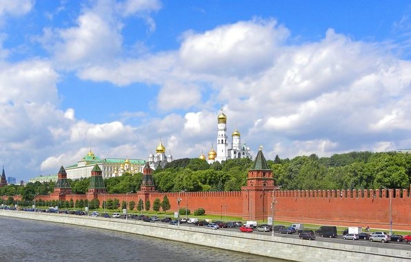 Картинка дорога, река, панорама, Москва, кремль