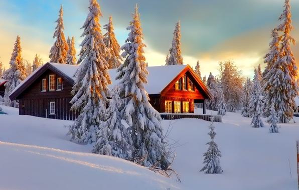 Картинка зима, лес, небо, снег, деревья, пейзаж, природа, дом
