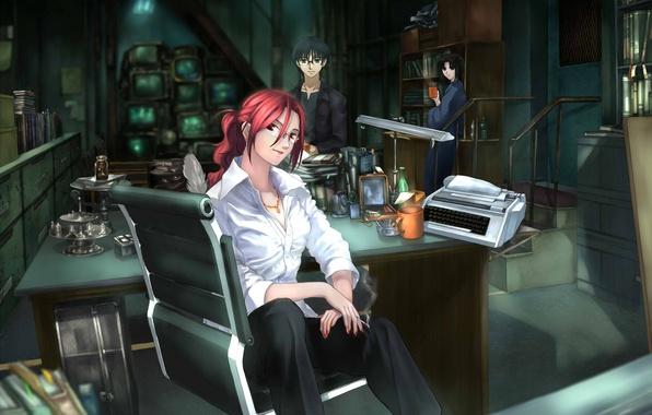 Картинка девушки, очки, сигарета, парень, трое, экраны, Kara no Kyoukai, сад грешников, Ryougi Shiki, Aozaki Touko, …