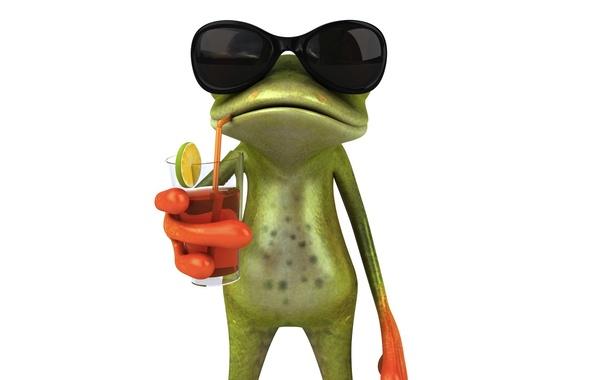 Картинка графика, коктель, лягушка, сок, очки, Free frog 3d